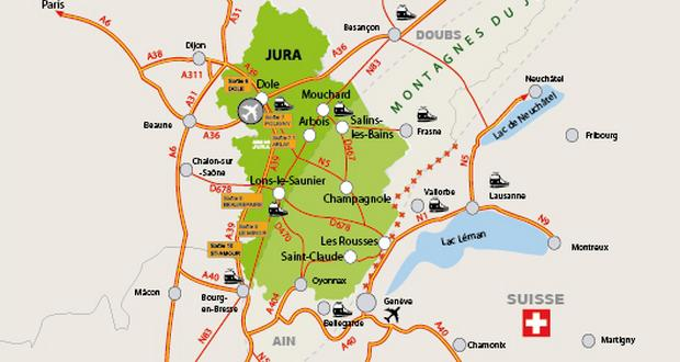 Le Jura Carte.Voyage Pedagogique Dans Le Jura